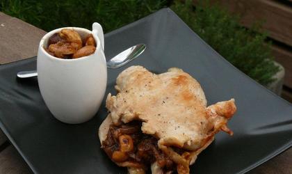 Escalopes de dinde à la confiture d'oignon et aux noix de cajou
