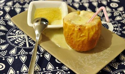 Pomme au four au miel, mascarpone et à la vanille