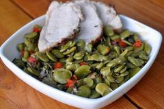 352 kcal. Roti de Porc aux fèves et chorizo