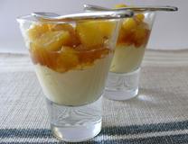 227 kcal. Verrine: Ananas confit au miel/ mascarpone