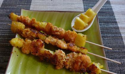 Brochette de Crevette à l'ananas
