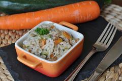 240 kcal. Riz pilaf au lait de coco, courgette et carotte