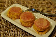 192 kcal. Flans de Potiron au bacon