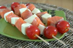 338 kcal. Brochettes de saumon et mozzarella