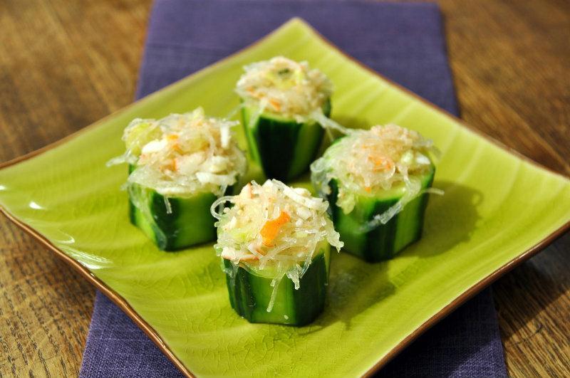 Bouchées de Concombre au crabe façon Thaï