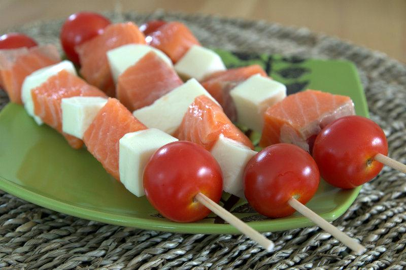 Brochettes de saumon et mozzarella