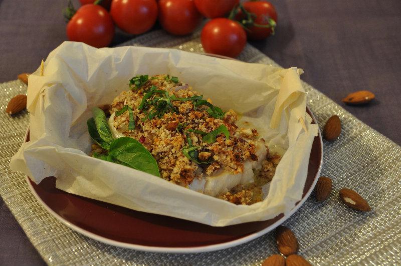 recette : dos de cabillaud en croûte d'amande et basilic