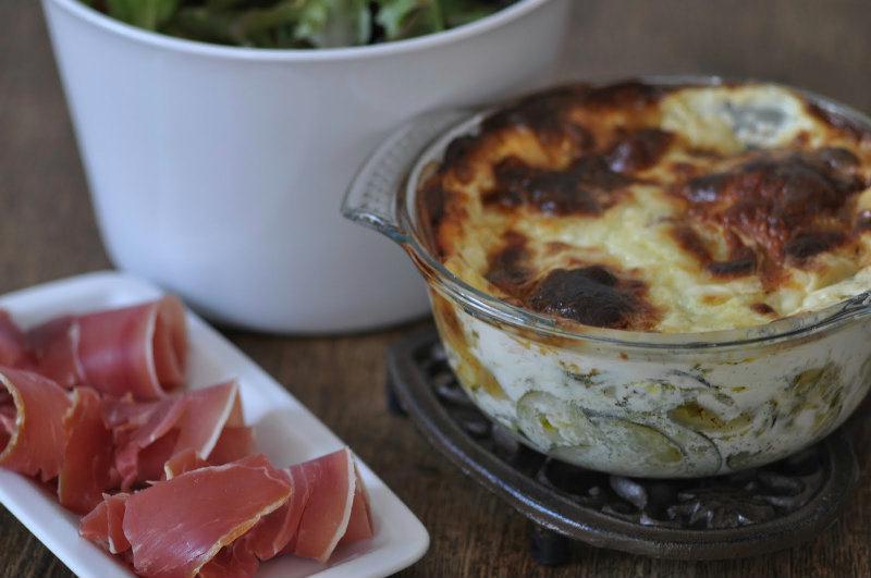 Gratin de ravioles, courgette et menthe