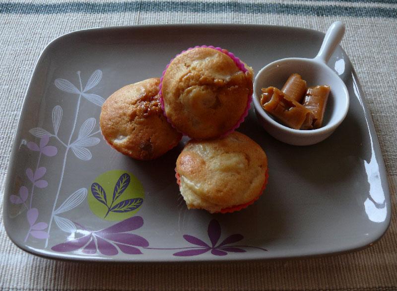 Muffins à la poire et aux caramels fondants