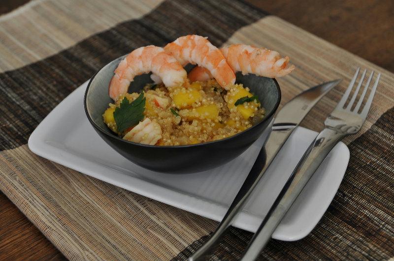 Quinoa à la mangue et aux crevettes