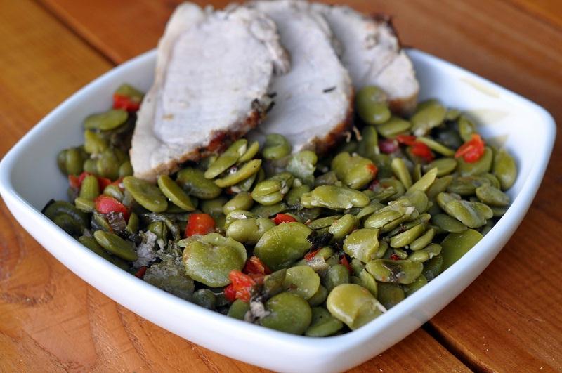Roti de Porc aux fèves et chorizo