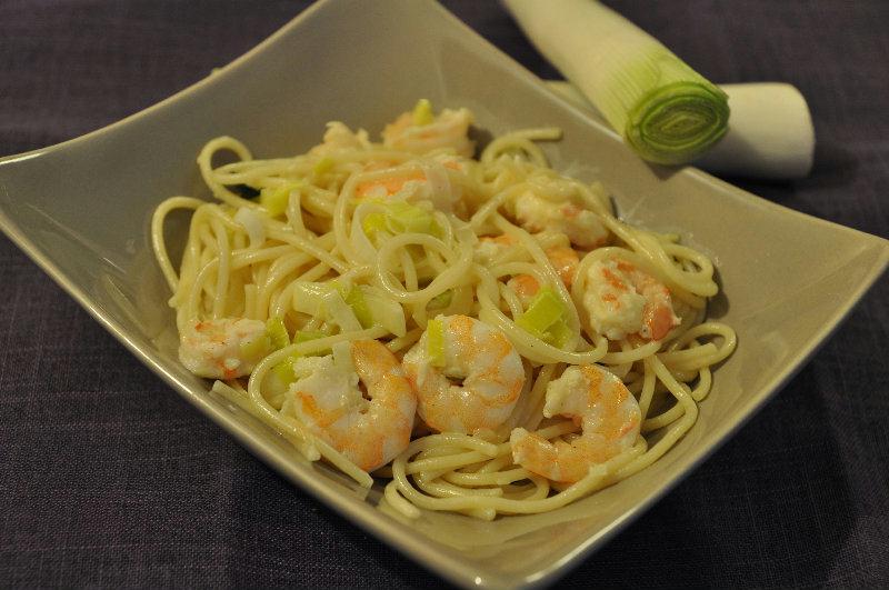 Spaghetti aux Crevettes et crème de Poireau